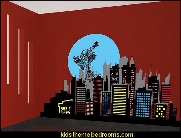 Spiderman & City Skyline Wall Décor Decal Vinyl Sticker Kids Room