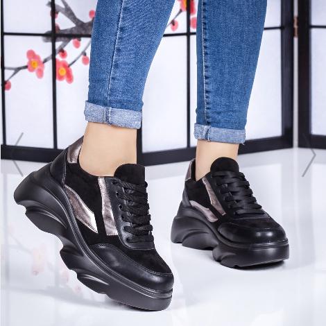 Pantofi sport dama negri cu talpa groasa din piele eco