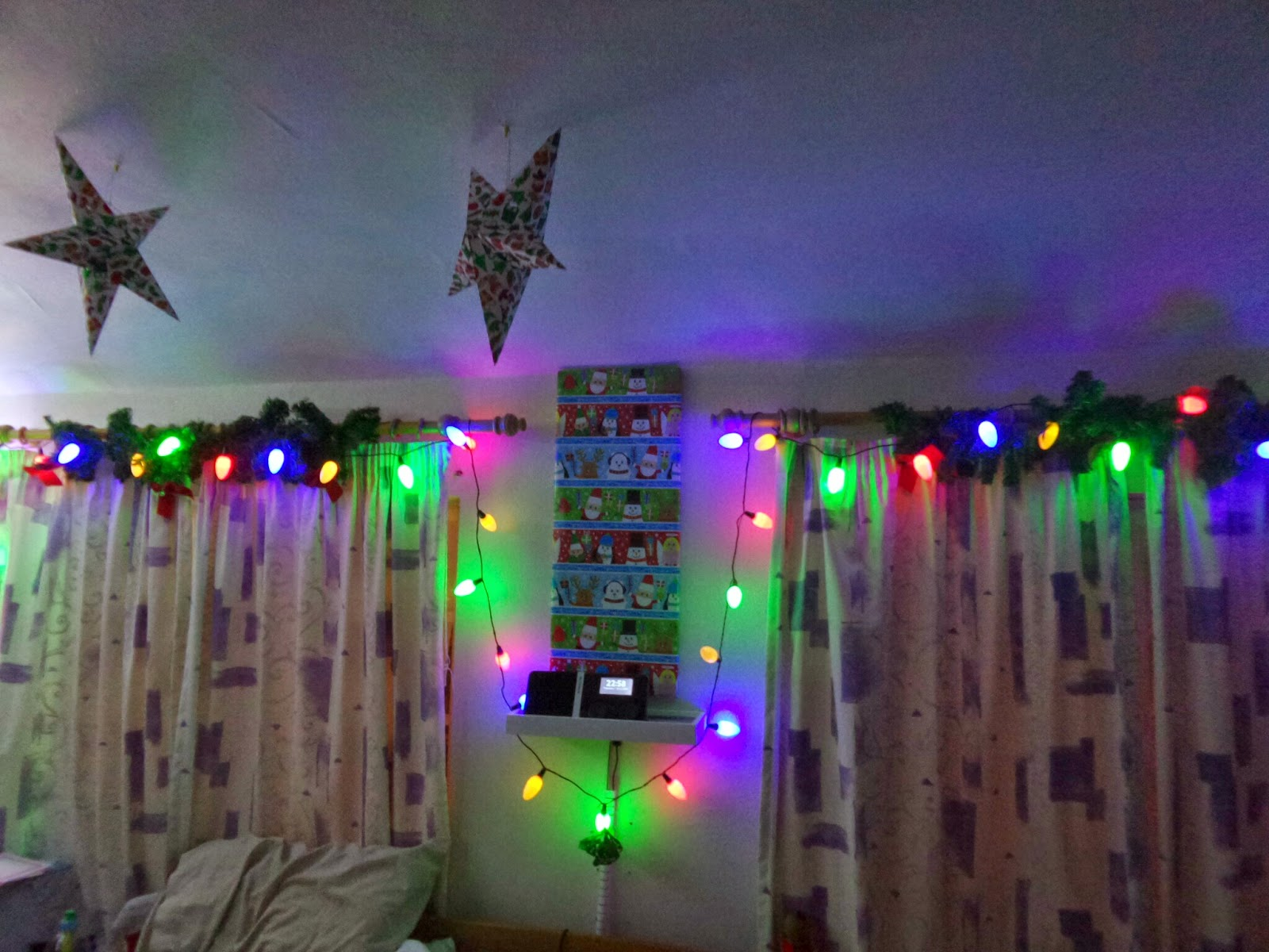 The back of my bedroom decorated for Christmas