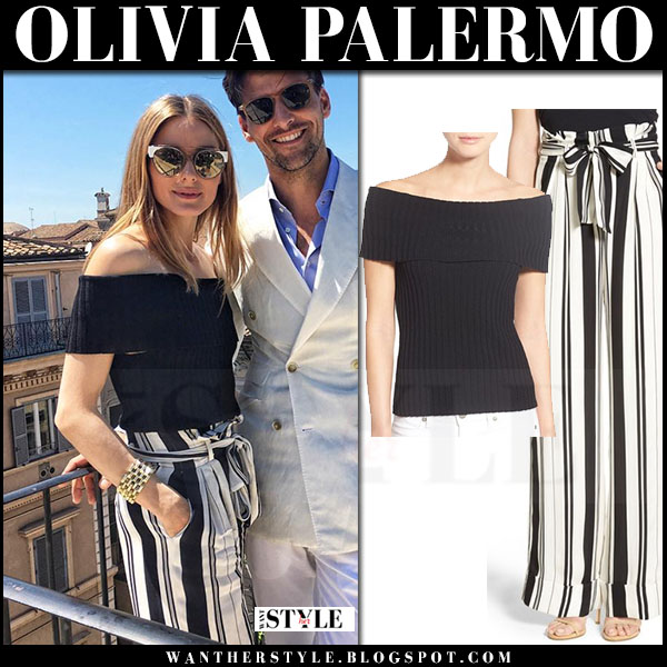 b2803919a00e Olivia Palermo in black off shoulder top and stripe black and white pants  chelsea28 what she