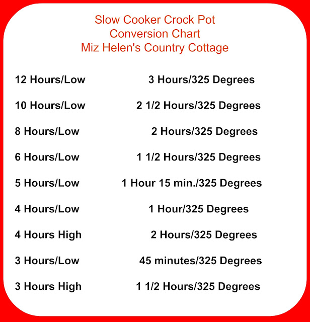 Slow Cooker Crock Pot Conversion Chart at Miz Helen's Country Cottage