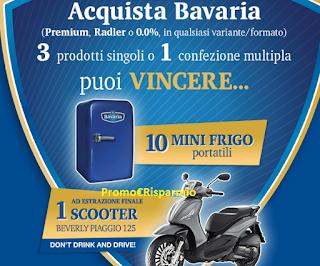 Logo Con Bavaria vinci mini frigo, Ice Bucket,portachiavi e uno Scooter Piaggio