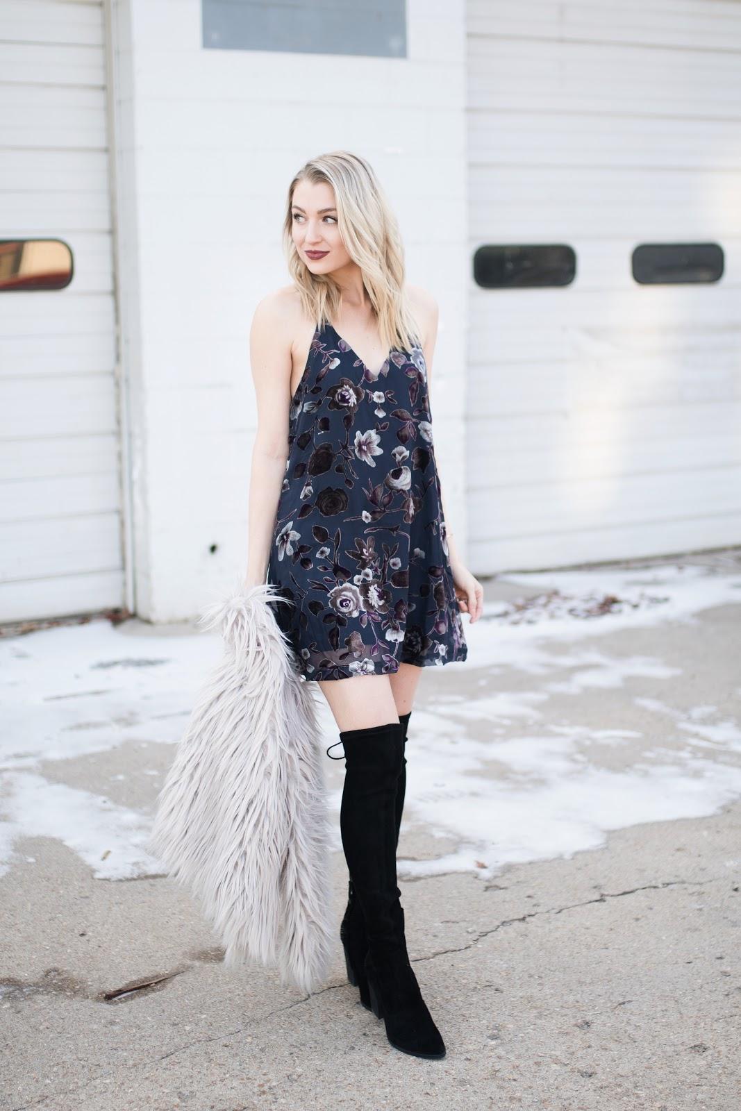 navy floral slip dress