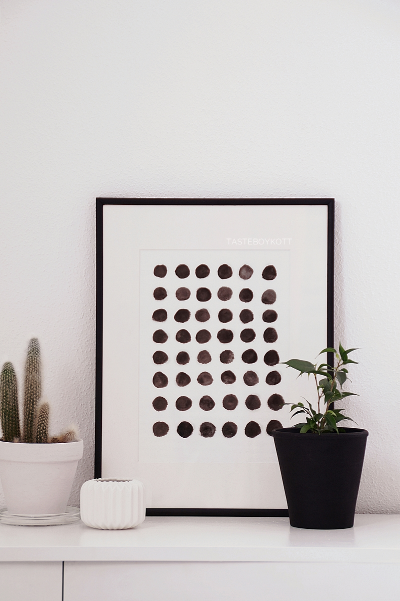 DIY self made black and white print as scandinavian style decoration