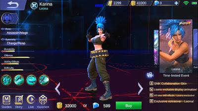 Skin Karina - Leona (King of Fighter - Mobile Legends) Terbaru 2019