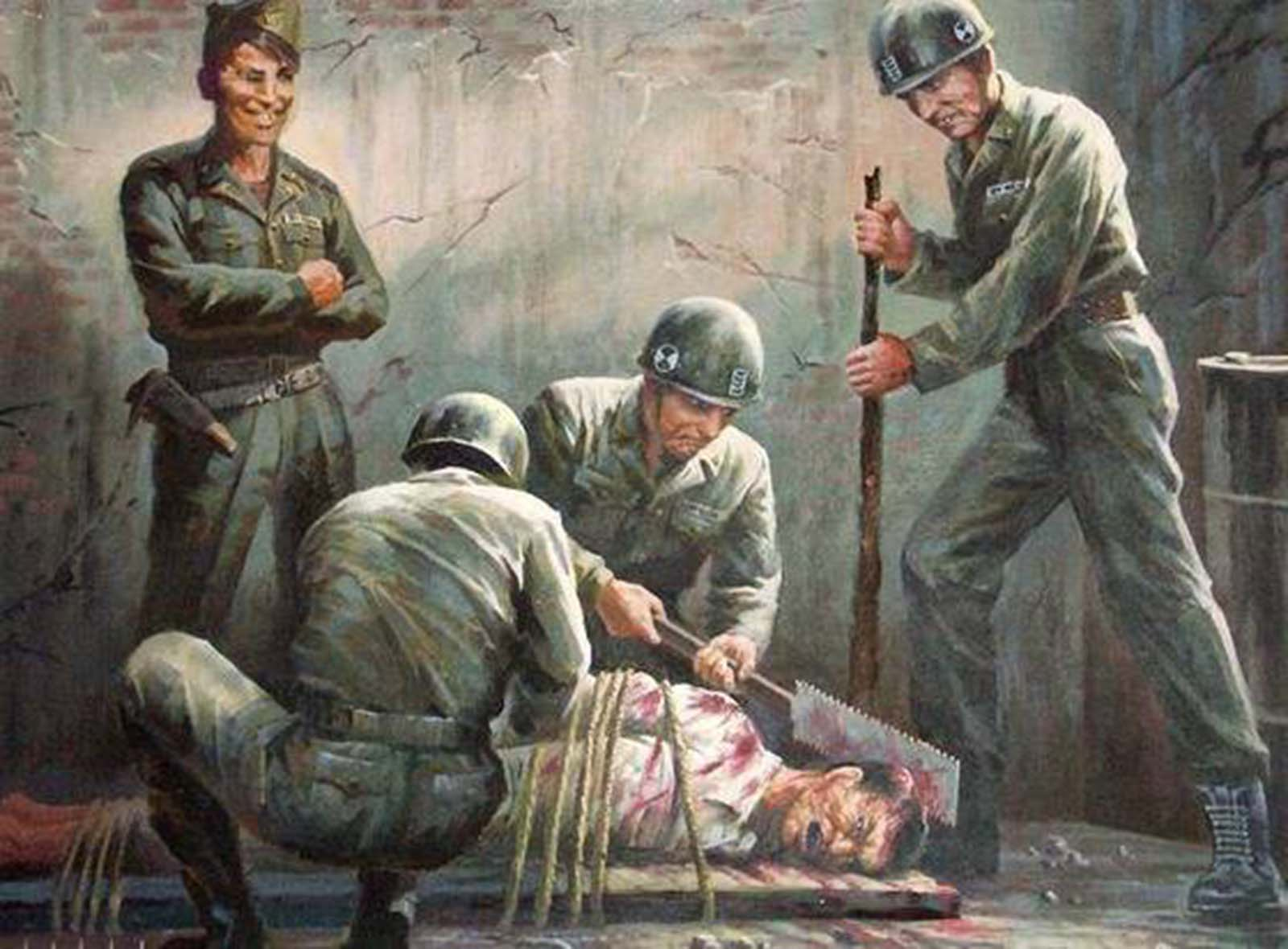 A gruesome propaganda painting produced by North Korea which depicts the alleged crimes American soldiers carried out on Koreans during the Korean War.