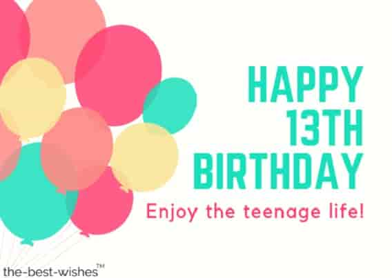 happy 13th birthday wishes images