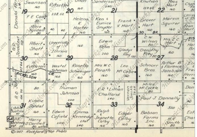 Jordal Ancestry: 1957 plat map - Milan Township, DeKalb