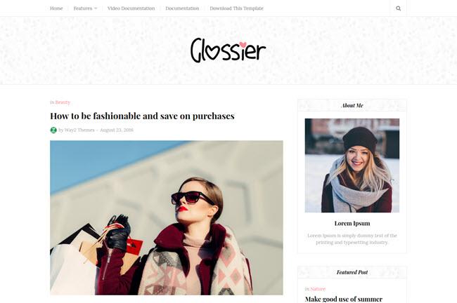 Glossier Blogger Template Premium Free Download
