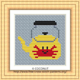 KETTLE, FREE AND EASY PRINTABLE CROSS STITCH PATTERN