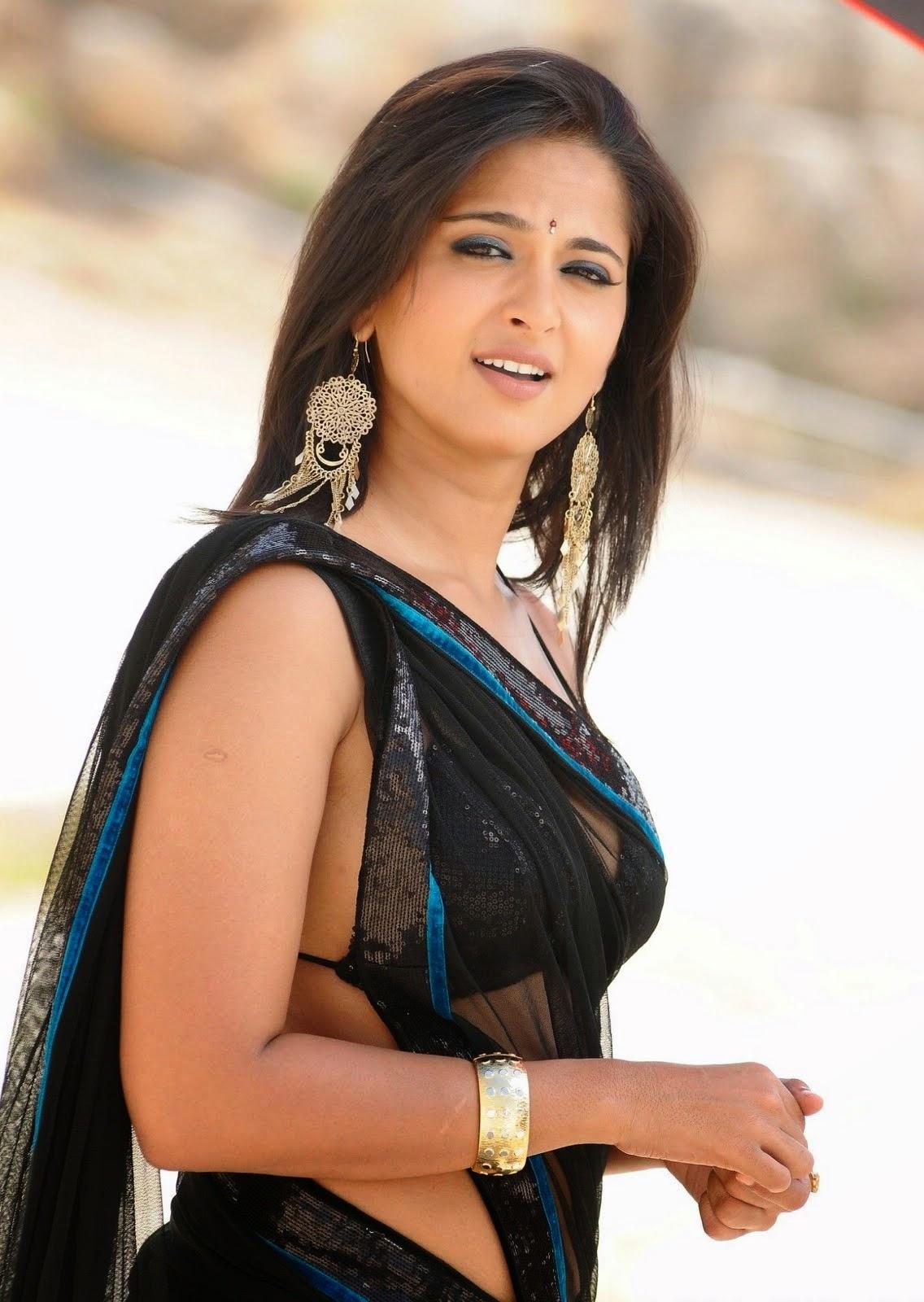 Indian Actress Anushka Shetty Stills In Black Saree Collection