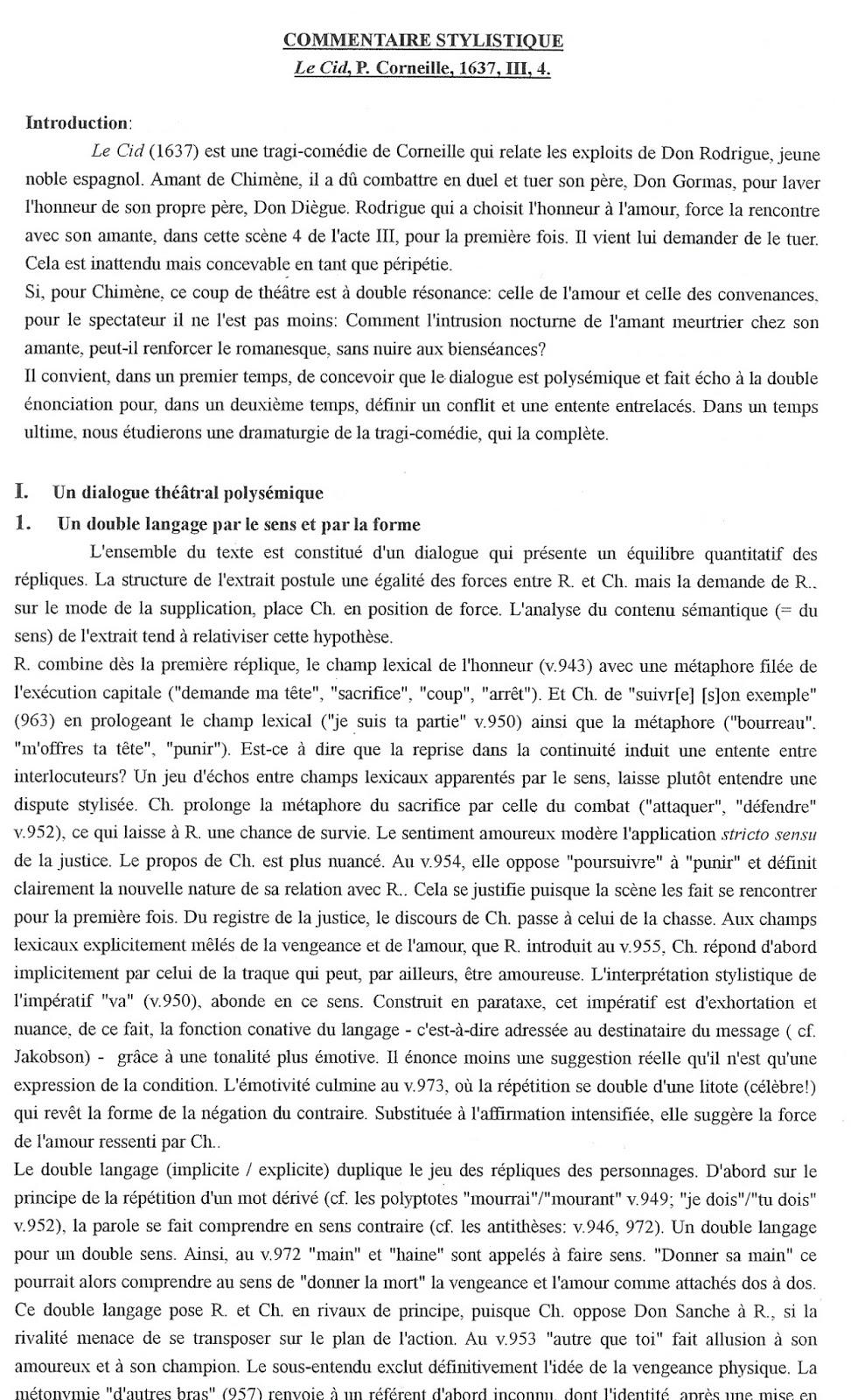Le Cid Acte 3 Scene 4 : scene, Commentaire, Compose, Scene