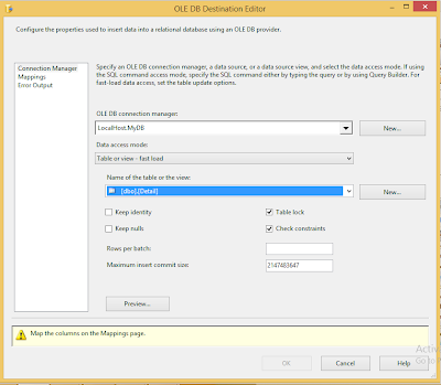 Configure OLE DB Destintation