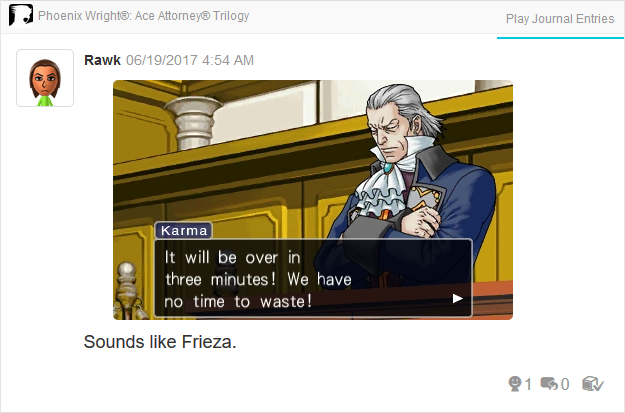 Manfred von Karma Frieza Phoenix Wright Ace Attorney Trilogy 3DS Miiverse Capcom Nintendo