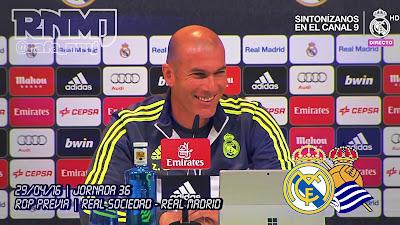 Rueda de prensa de Zidane previa Real Sociedad - Real Mardrid. Emisión TDT en abierto y HD