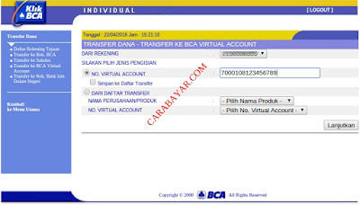 CARA TOP-UP GOJEK VIA VIRTUAL ACCOUNT BCA DENGAN KLIKBCA