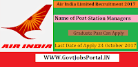 Air India Limited Recruitment 2017– 27 Station Managers