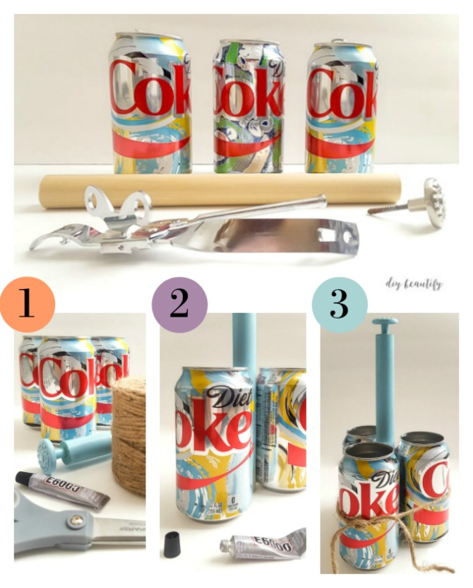 "Have you ever up-cycled soda cans or bottles? I used the beautiful, limited time ""It's Mine"" products from Diet Coke to create a DIY craft caddy, perfect for organizing all your craft supplies. For the full tutorial, please visit diy beautify."