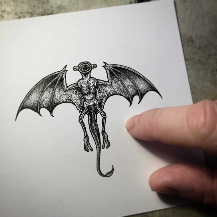 11-Bat-Paul-Jackson-Star-Wars-Miniature-Drawings-www-designstack-co