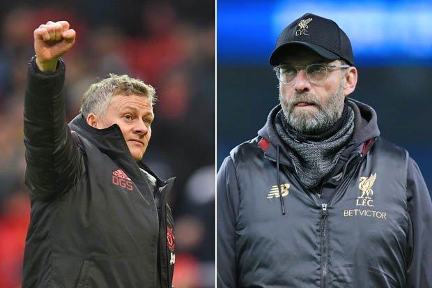 Manchester United Ole Gunnar Solskjaer and Jurgen Klopp Liverpool Fc