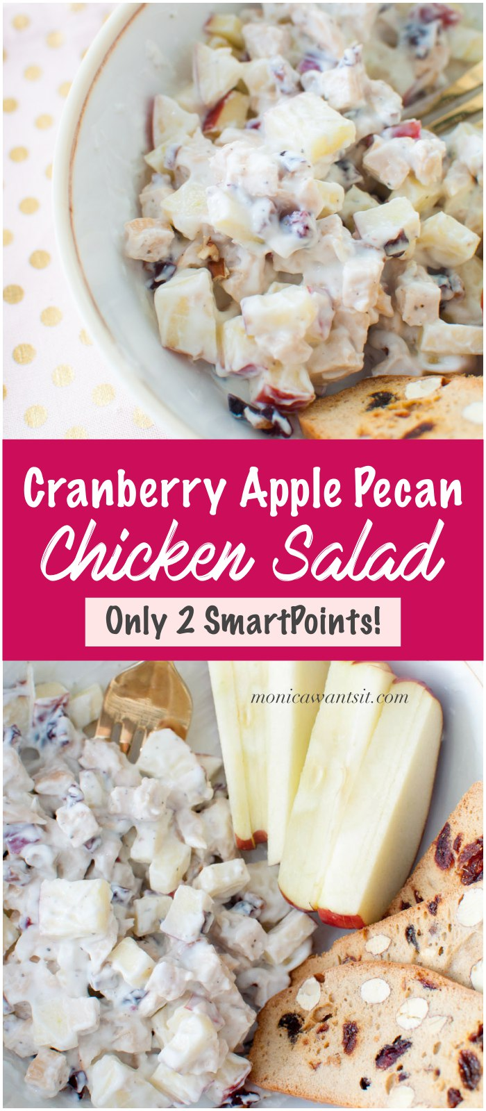 A Weight Watchers lunch or snack recipe for a tasty cranberry apple pecan chicken salad. Great on sandwiches, crackers or over leafy greens,