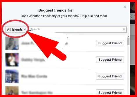 how to suggest a friends on facebook