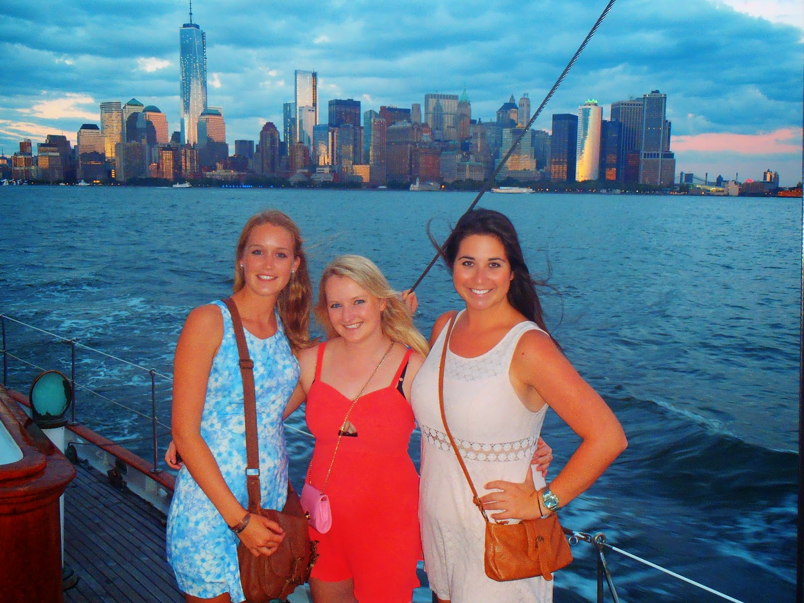 Us girls with New York city in the background