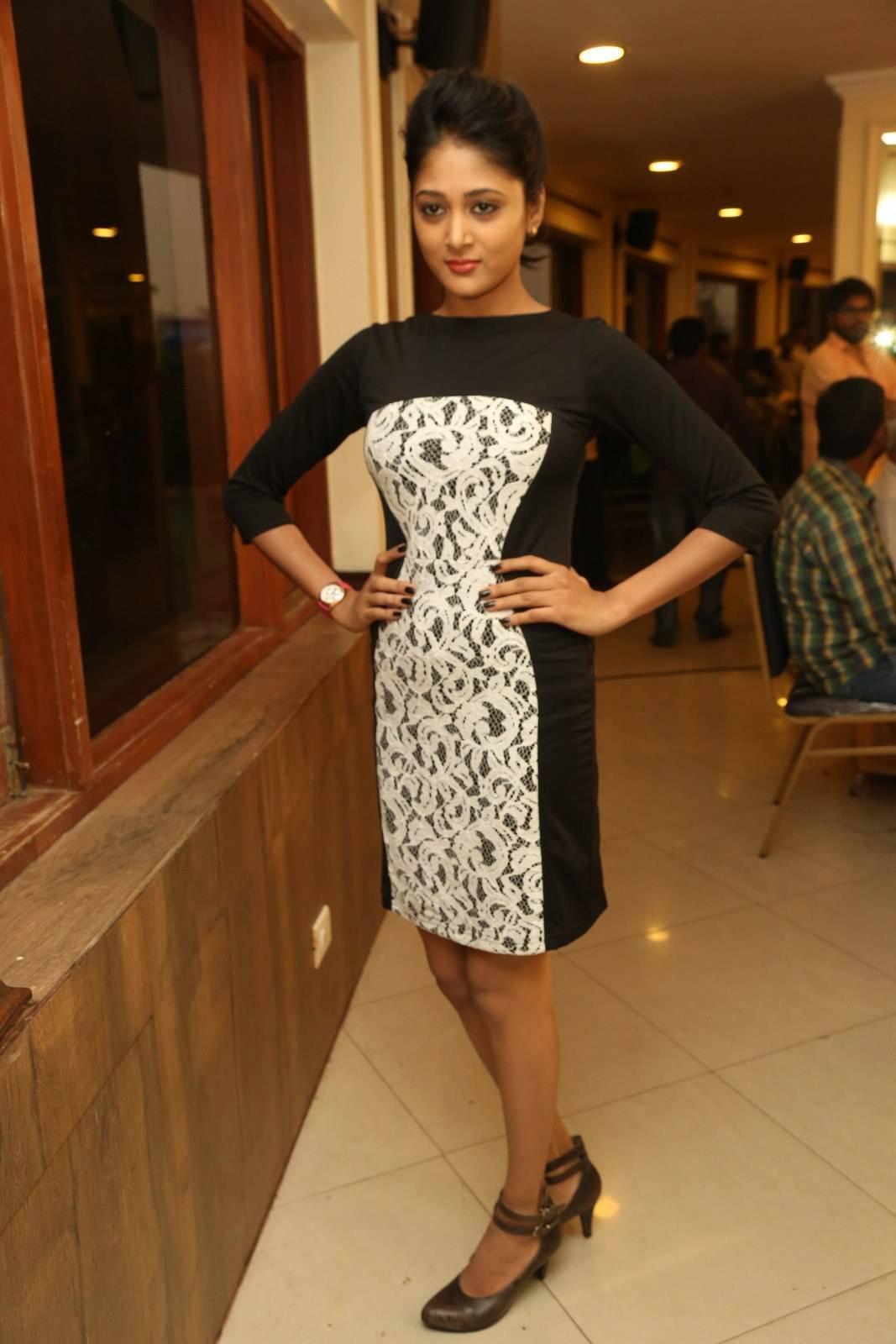 Telugu Hot Girl Sushma Raj Legs Show Stills In Black Dress At Movie Press Meet