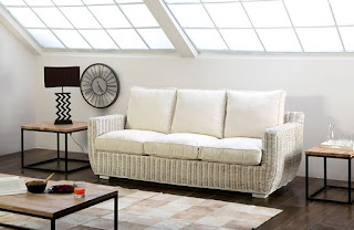 Sofa 3 Plazas Rattan Blanco Decape Ursula