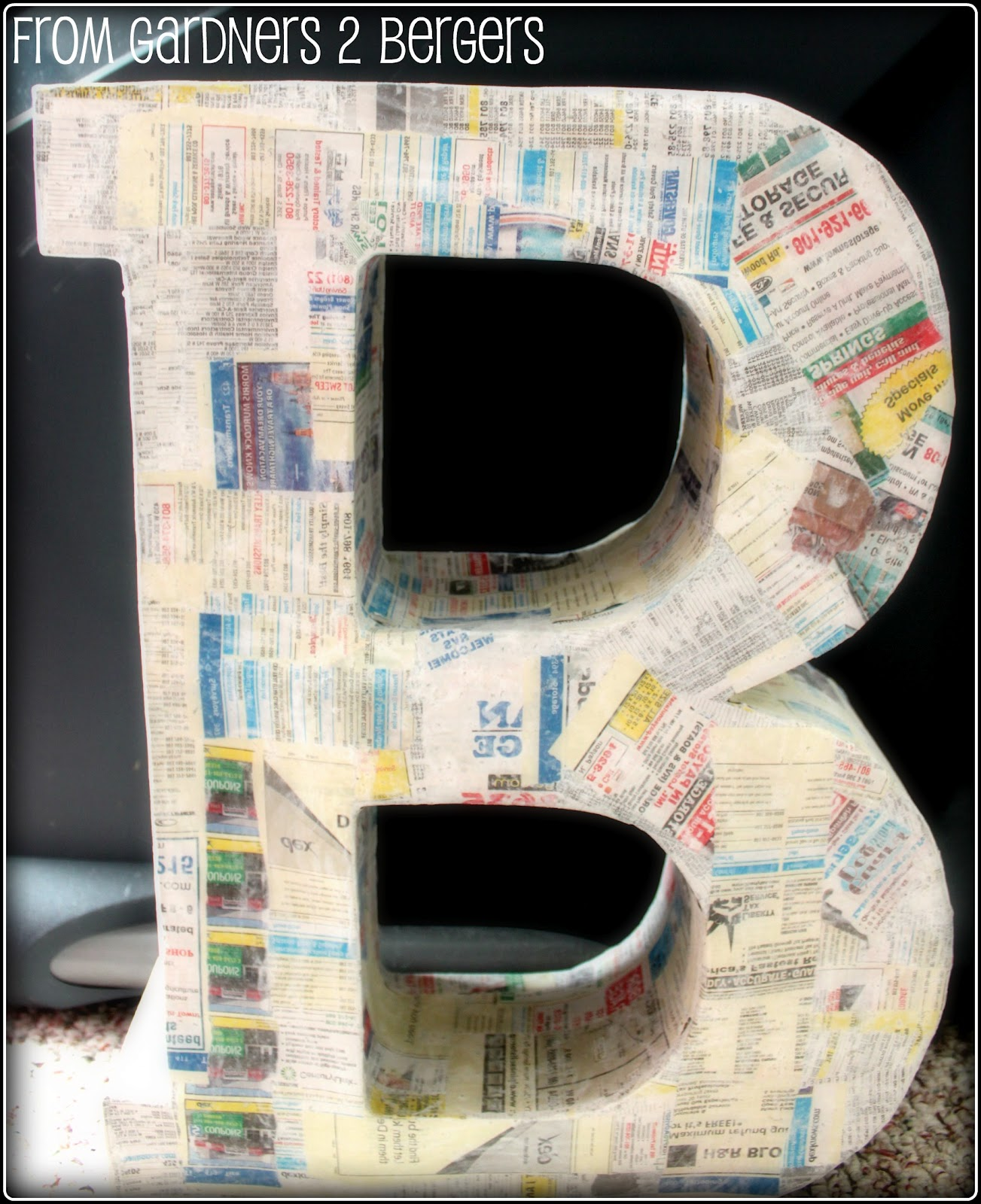 paper mache letters from gardners 2 bergers diy cardboard letters paper 23894