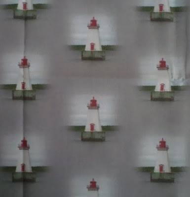 Lighthouse on Grey fabric by eSheep Designs