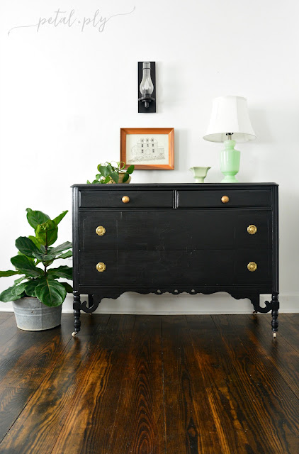 refinished black chest, painted dresser, diy, pocket watch metallic cream