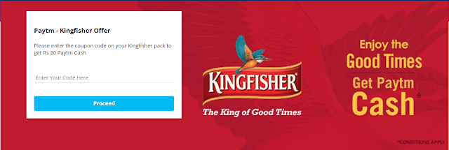 Get Rs.20 Paytm Cash Voucher On Every Kingfisher Beer Bottles