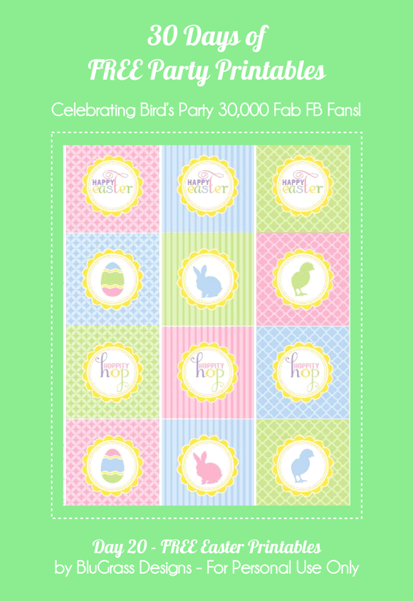 Free Printable Easter Cupcake Toppers - via BirdsParty.com