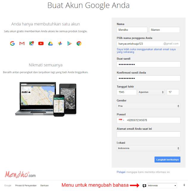 Contoh Pengisian Formulir Pendaftaran Google Account - Image by MeNDHo.com