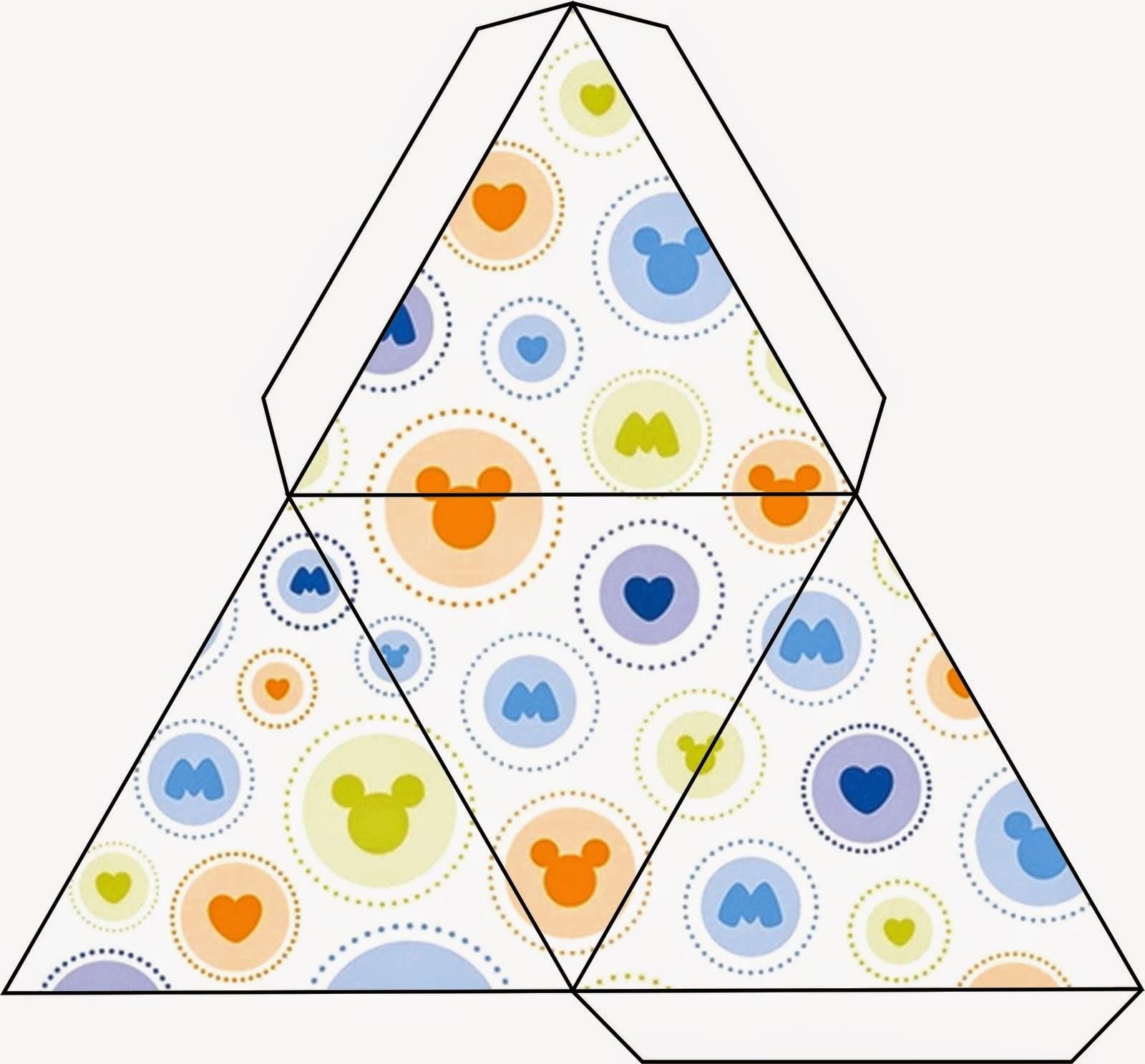 Caja Triangulo para Imprimir Gratis de Mickey.