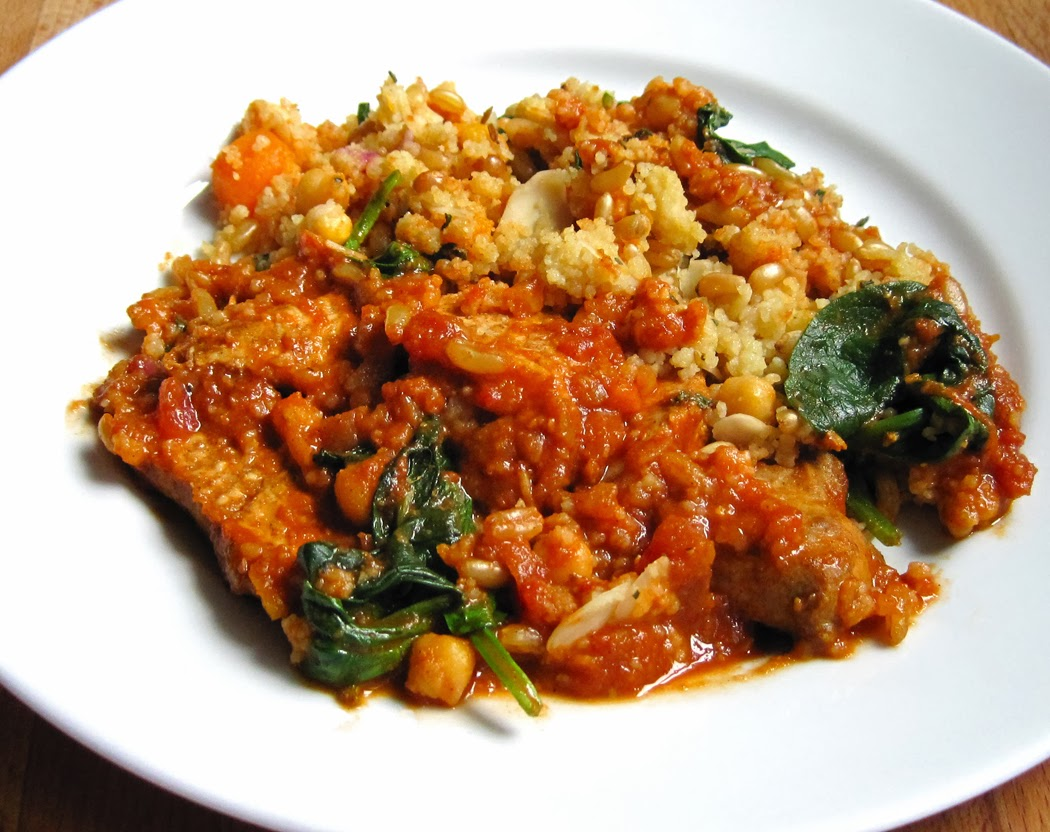 Chicken and Almond Tagine with Lemon Couscous and Spinach