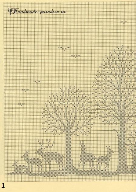 Лес. Филейные шторы крючком и вышивка (1)