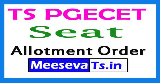 TS PGECET Seat Allotment Order 2018