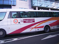 Galway city Christmas park and ride bus pulling away from the coach station