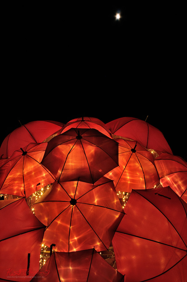 Umbrella Art and partial lunar eclipse,  Walsh Bay, Vivid Sydney, Underbrella by Anna Meister, Jorden Martin