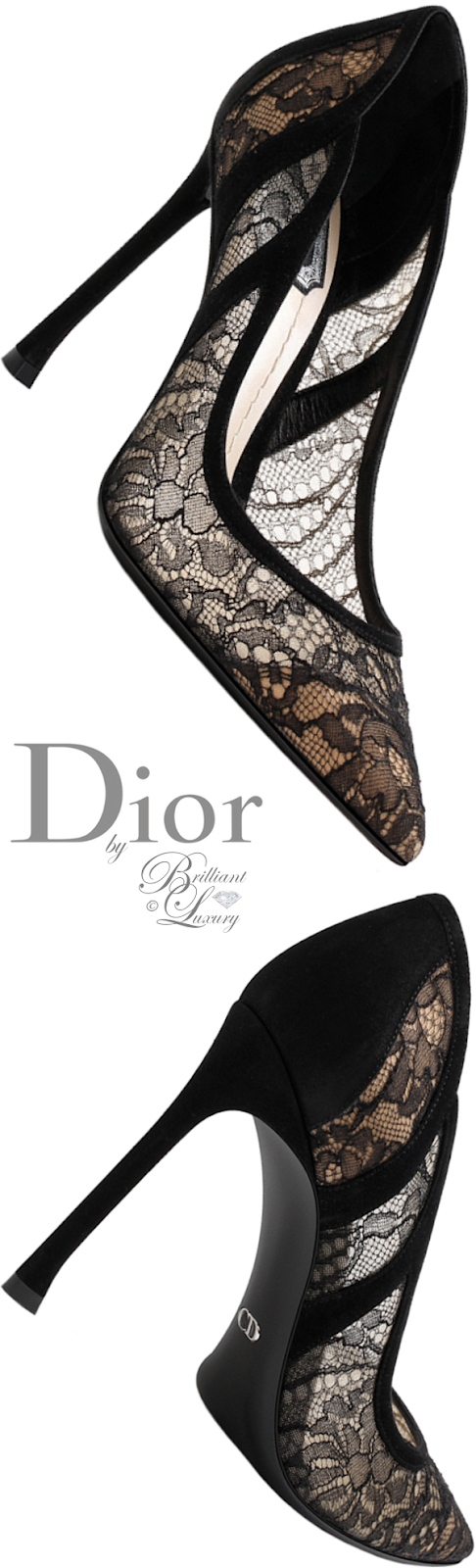 Brilliant Luxury ♦ Dior black lace pump