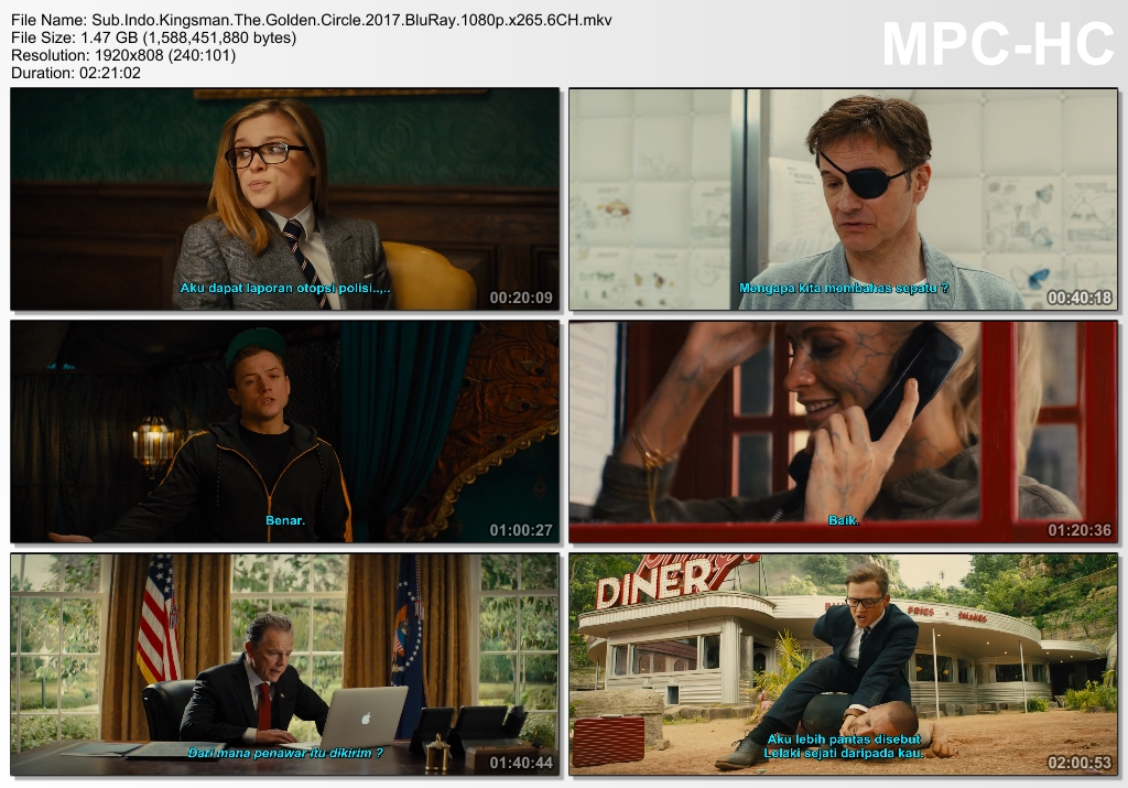Screenshots Download Film Gratis Kingsman: The Golden Circle (2017) BluRay 1080p X265 HEVC 6CH Subtitle Indonesia MKV Nonton Film Gratis Free Full Movie Streaming