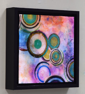 resin square framed colorful painting