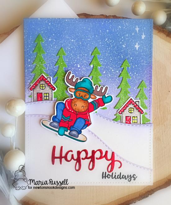 Snowboard Moose Card by Maria Russell | Mouse Mountain Stamp Set, Snow Globe Scenes Stamp Set, Forest Scene Builder Die Set and Land Borders Die Set by Newton's Nook Designs #newtonsnook #handmade