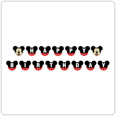 Bunting Banner HAPPY BIRTHDAY Motif Mickey Mouse Bulat