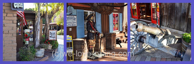 Several shops are shown from Seaport Village, San Diego, CA
