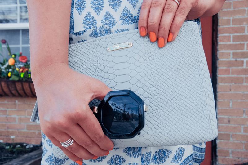 hexagon sunglasses, gigi new york, clutch bag
