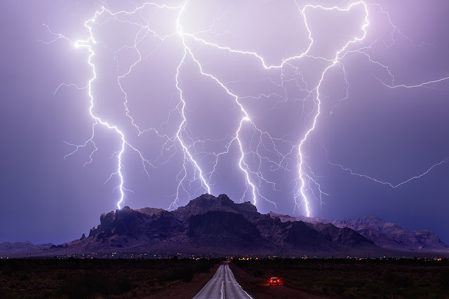 Lightning over Superstition Mountains