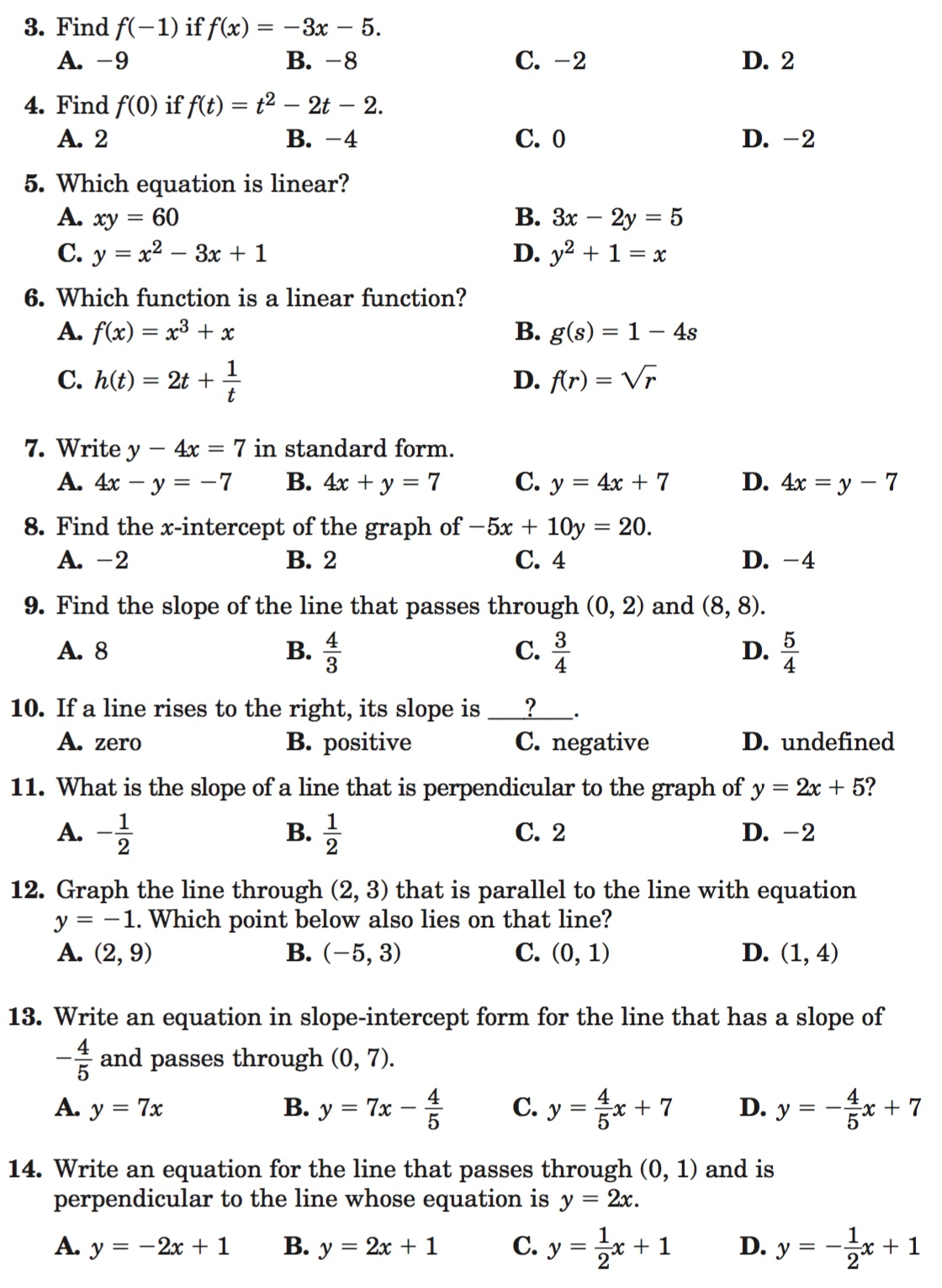 2 4 Practice Writing Linear Equations Glencoe Algebra